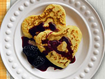 Heart-shaped Pancakes with Maple Blackberry Syrup